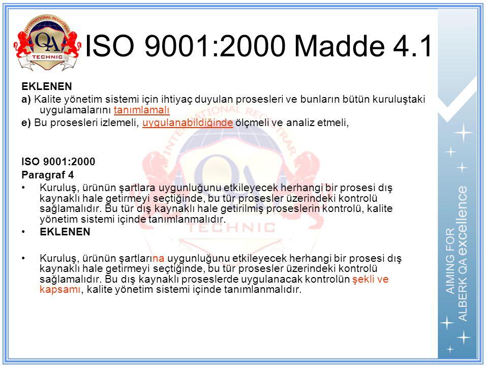 ISO 9001:2000 Madde 4.1 EKLENEN a) Kalite yönetim sistemi için ihtiyaç duyulan prosesleri ve bunların bütün kuruluştaki uygulamalarını tanımlamalı e) Bu prosesleri izlemeli, uygulanabildiğinde ölçmeli ve analiz etmeli, ISO 9001:2000 Paragraf 4 Kuruluş, ürünün şartlara uygunluğunu etkileyecek herhangi bir prosesi dış kaynaklı hale getirmeyi seçtiğinde, bu tür prosesler üzerindeki kontrolü sağlamalıdır.