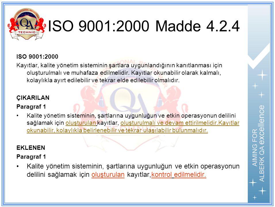 ISO 9001:2000 Madde 4.2.4 ISO 9001:2000 Kayıtlar, kalite yönetim sisteminin şartlara uygunlandığının kanıtlanması için oluşturulmalı ve muhafaza edilmelidir.