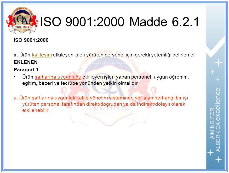 ISO 9001:2000 Madde 6.2.1 ISO 9001:2000 a.