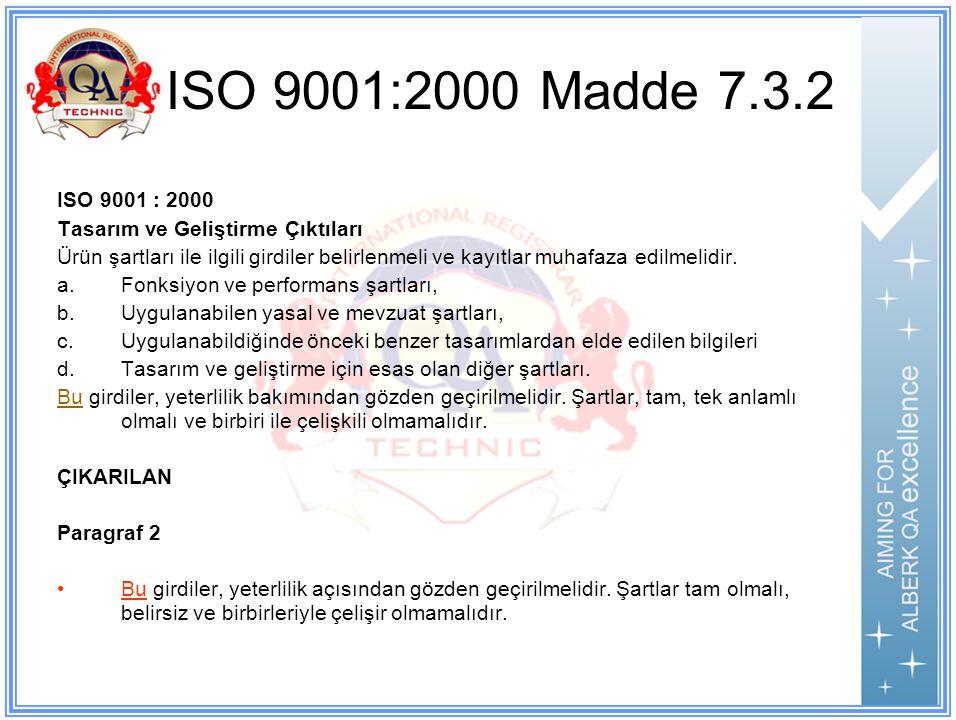 ISO 9001:2000 Madde 7.3.2 ISO 9001 : 2000 Tasarım ve Geliştirme Çıktıları Ürün şartları ile ilgili girdiler belirlenmeli ve kayıtlar muhafaza edilmelidir.
