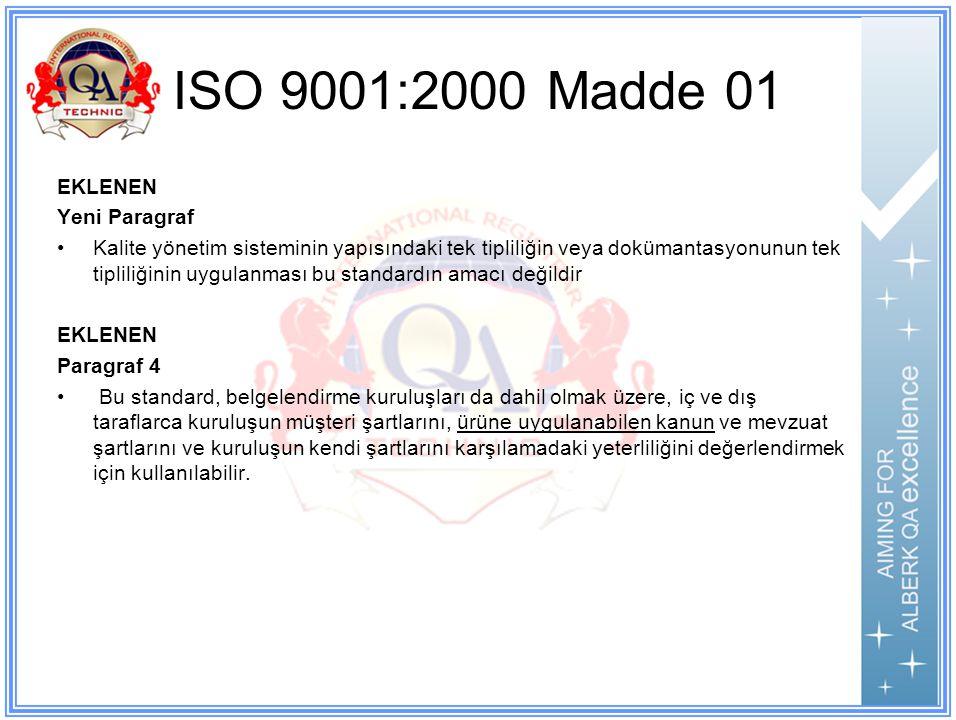 ISO 9001:2000 Madde 01 EKLENEN Yeni Paragraf Kalite yönetim sisteminin yapısındaki tek tipliliğin veya dokümantasyonunun tek tipliliğinin uygulanması bu standardın amacı değildir EKLENEN Paragraf 4 Bu standard, belgelendirme kuruluşları da dahil olmak üzere, iç ve dış taraflarca kuruluşun müşteri şartlarını, ürüne uygulanabilen kanun ve mevzuat şartlarını ve kuruluşun kendi şartlarını karşılamadaki yeterliliğini değerlendirmek için kullanılabilir.