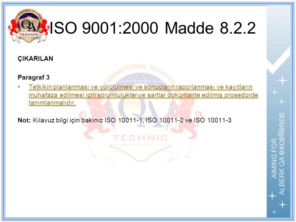 ISO 9001:2000 Madde 8.2.2 ÇIKARILAN Paragraf 3 Tetkikin planlanması ve yürütülmesi ve sonuçların raporlanması ve kayıtların muhafaza edilmesi için sorumluluklar ve şartlar dokümante edilmiş prosedürde tanımlanmalıdır.