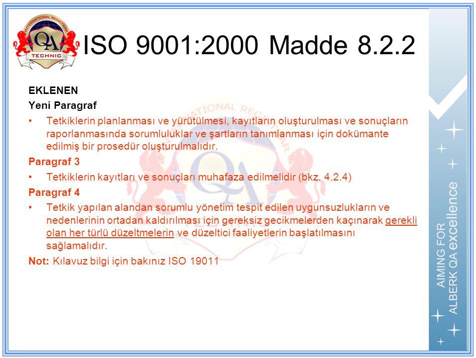 ISO 9001:2000 Madde 8.2.2 EKLENEN Yeni Paragraf Tetkiklerin planlanması ve yürütülmesi, kayıtların oluşturulması ve sonuçların raporlanmasında sorumluluklar ve şartların tanımlanması için dokümante edilmiş bir prosedür oluşturulmalıdır.