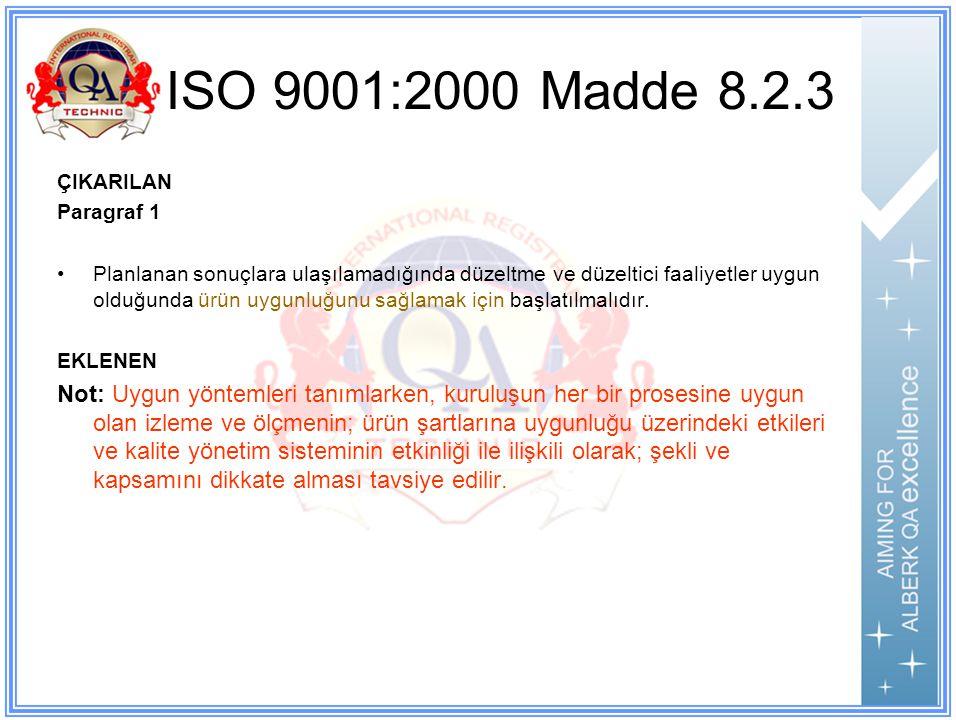 ISO 9001:2000 Madde 8.2.3 ÇIKARILAN Paragraf 1 Planlanan sonuçlara ulaşılamadığında düzeltme ve düzeltici faaliyetler uygun olduğunda ürün uygunluğunu sağlamak için başlatılmalıdır.