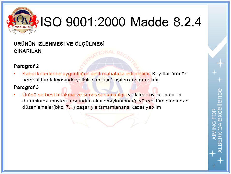 ISO 9001:2000 Madde 8.2.4 ÜRÜNÜN İZLENMESİ VE ÖLÇÜLMESİ ÇIKARILAN Paragraf 2 Kabul kriterlerine uygunluğun delili muhafaza edilmelidir.