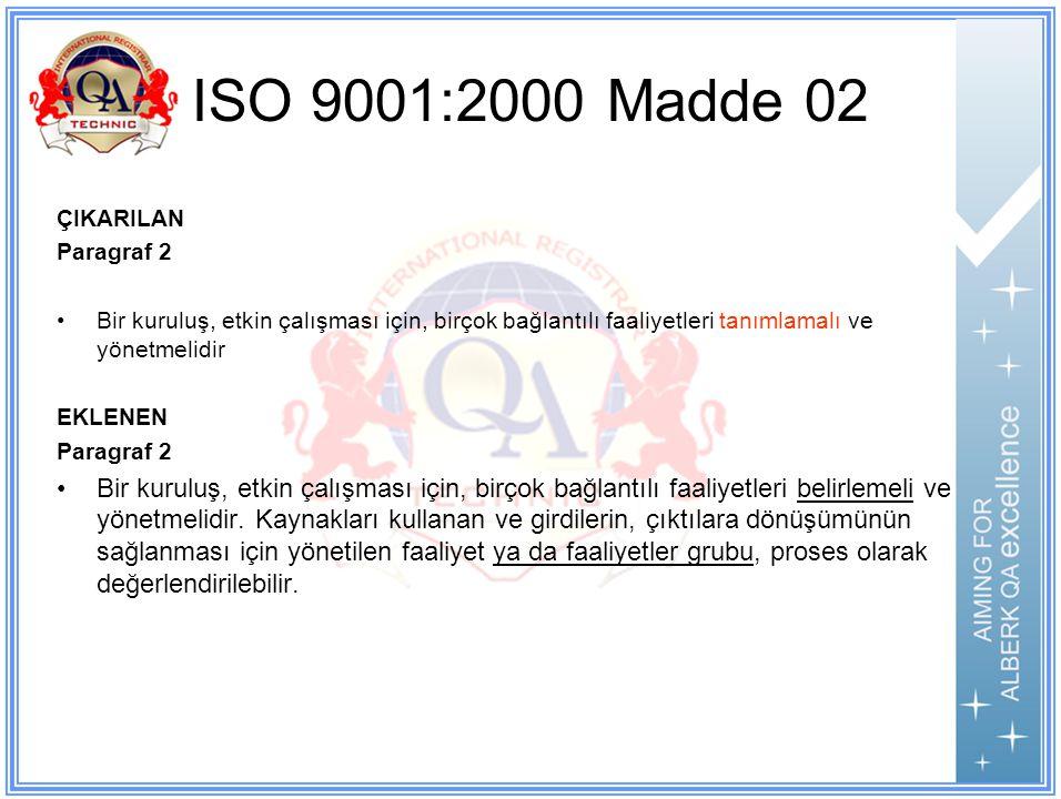 ISO 9001:2000 Madde 02 ÇIKARILAN Paragraf 2 Bir kuruluş, etkin çalışması için, birçok bağlantılı faaliyetleri tanımlamalı ve yönetmelidir EKLENEN Paragraf 2 Bir kuruluş, etkin çalışması için, birçok bağlantılı faaliyetleri belirlemeli ve yönetmelidir.