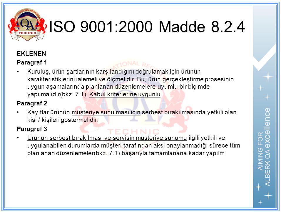 ISO 9001:2000 Madde 8.2.4 EKLENEN Paragraf 1 Kuruluş, ürün şartlarının karşılandığını doğrulamak için ürünün karakteristiklerini ialemeli ve ölçmelidir.