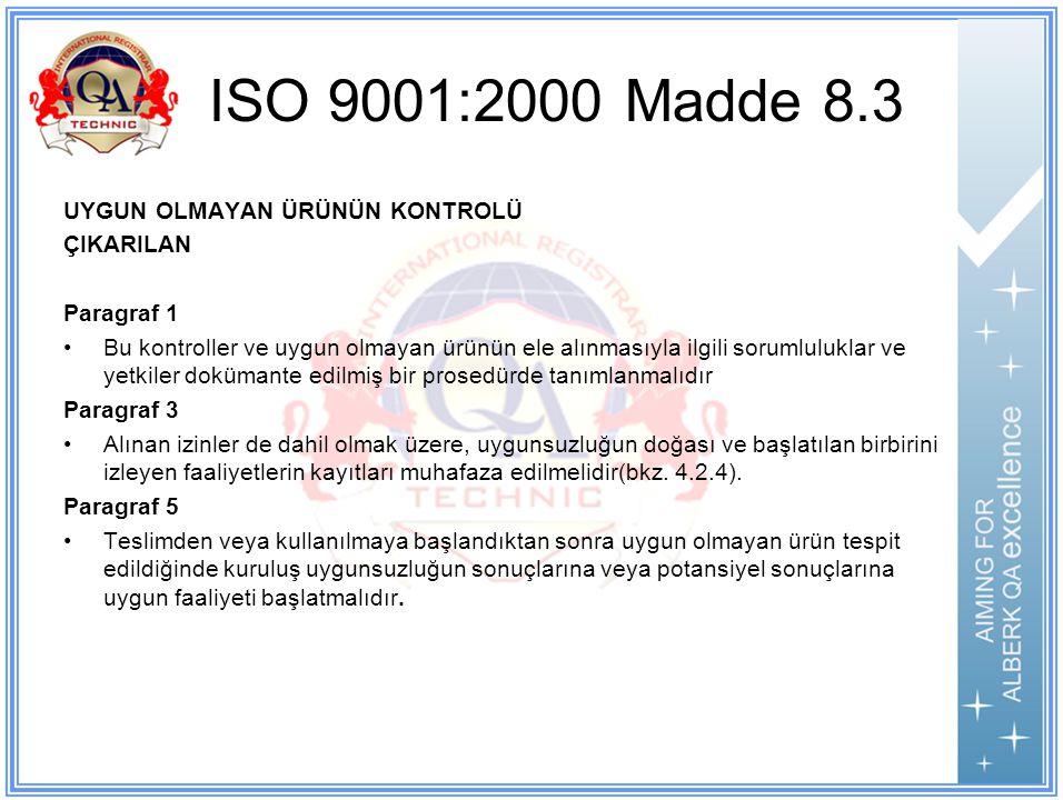 ISO 9001:2000 Madde 8.3 UYGUN OLMAYAN ÜRÜNÜN KONTROLÜ ÇIKARILAN Paragraf 1 Bu kontroller ve uygun olmayan ürünün ele alınmasıyla ilgili sorumluluklar ve yetkiler dokümante edilmiş bir prosedürde tanımlanmalıdır Paragraf 3 Alınan izinler de dahil olmak üzere, uygunsuzluğun doğası ve başlatılan birbirini izleyen faaliyetlerin kayıtları muhafaza edilmelidir(bkz.