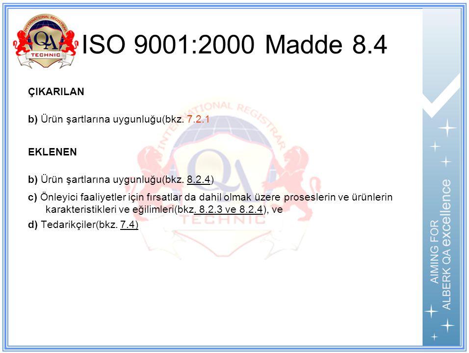 ISO 9001:2000 Madde 8.4 ÇIKARILAN b) Ürün şartlarına uygunluğu(bkz.