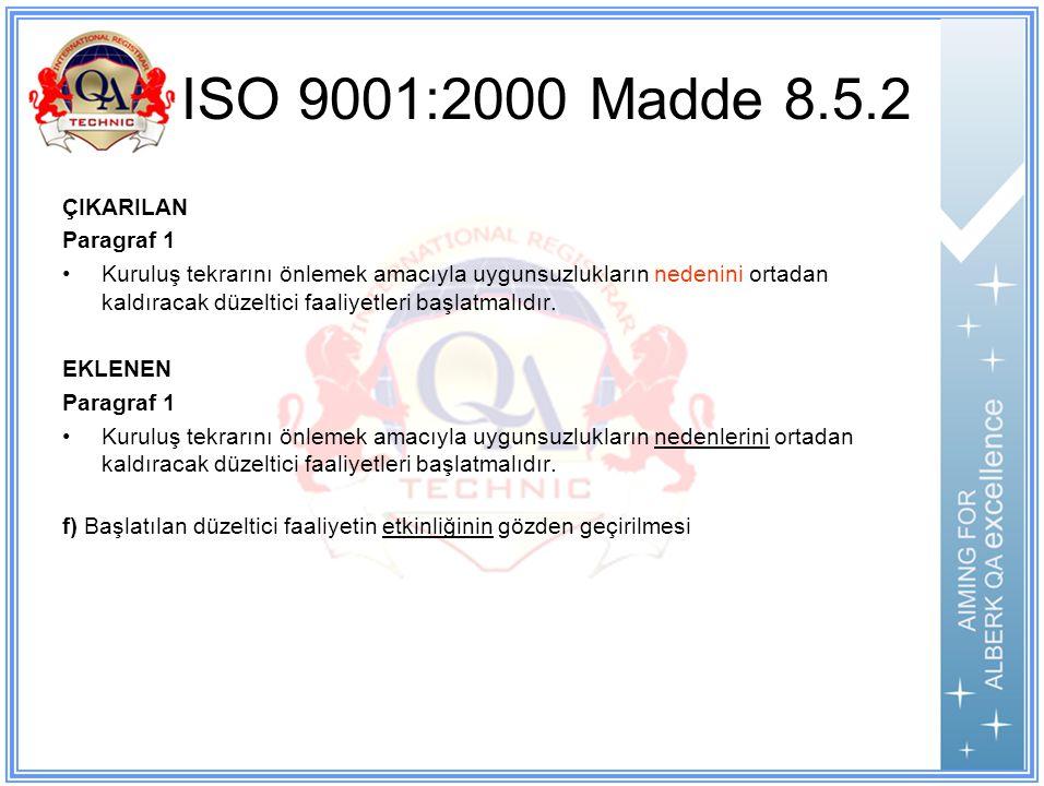 ISO 9001:2000 Madde 8.5.2 ÇIKARILAN Paragraf 1 Kuruluş tekrarını önlemek amacıyla uygunsuzlukların nedenini ortadan kaldıracak düzeltici faaliyetleri başlatmalıdır.