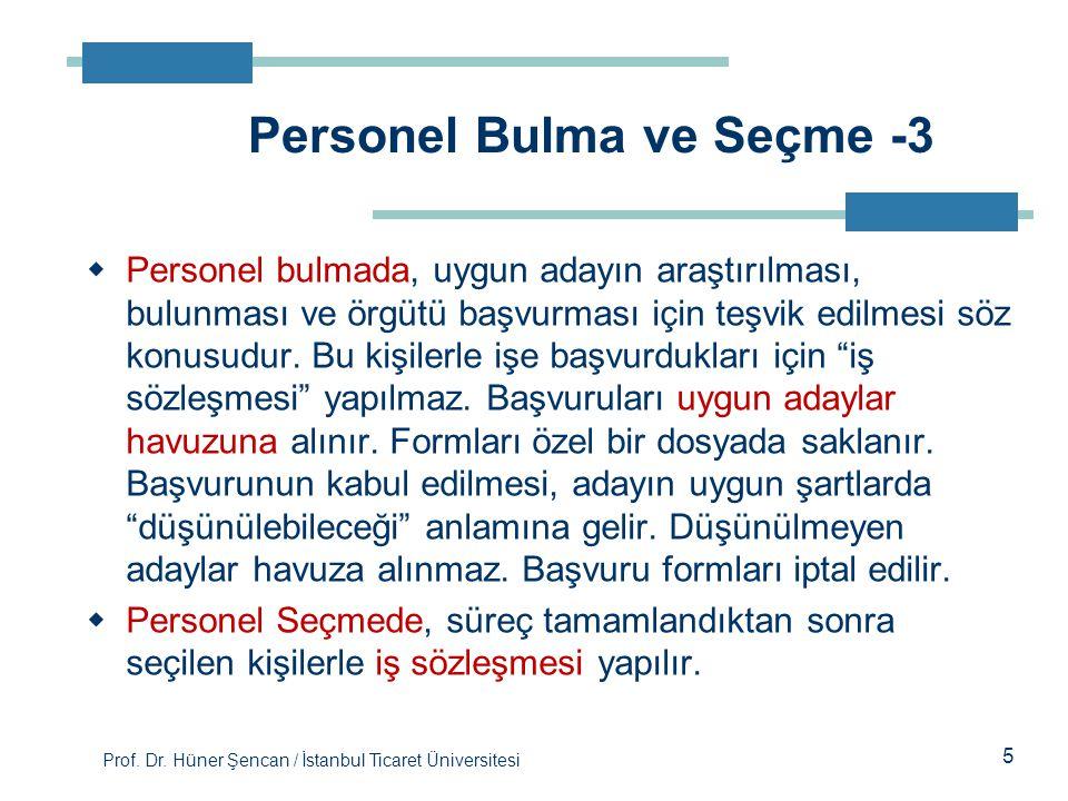 Prof. Dr. Hüner Şencan / İstanbul Ticaret Üniversitesi 5  Personel bulmada, uygun adayın araştırılması, bulunması ve örgütü başvurması için teşvik ed