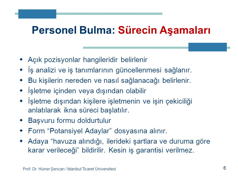 Prof. Dr. Hüner Şencan / İstanbul Ticaret Üniversitesi 6  Açık pozisyonlar hangileridir belirlenir  İş analizi ve iş tanımlarının güncellenmesi sağl