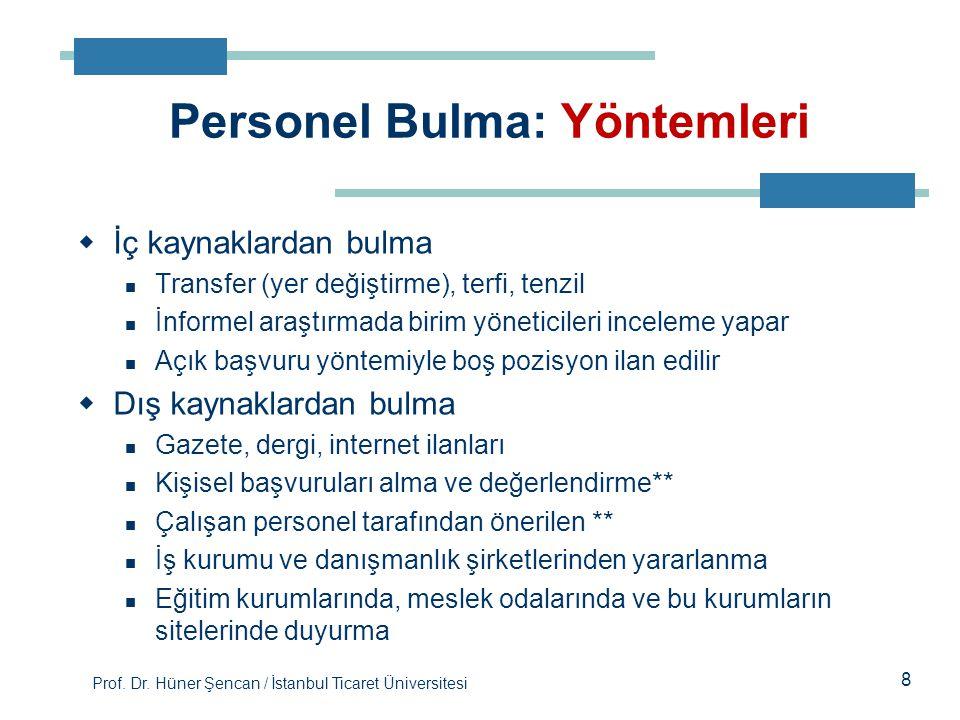 Prof. Dr. Hüner Şencan / İstanbul Ticaret Üniversitesi 8  İç kaynaklardan bulma Transfer (yer değiştirme), terfi, tenzil İnformel araştırmada birim y