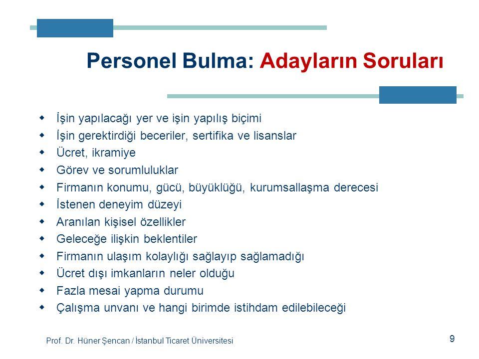 Prof. Dr. Hüner Şencan / İstanbul Ticaret Üniversitesi 9  İşin yapılacağı yer ve işin yapılış biçimi  İşin gerektirdiği beceriler, sertifika ve lisa