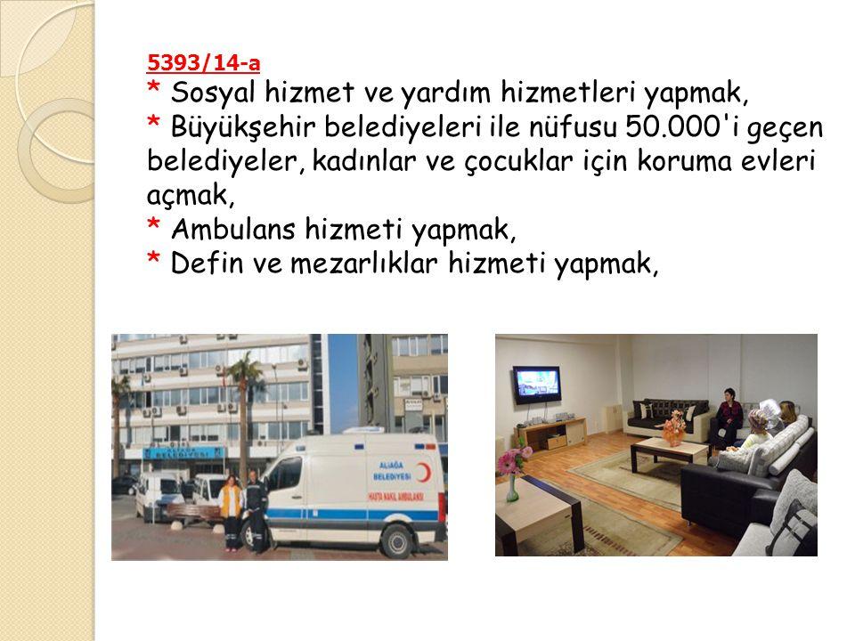5393/14-a * Sosyal hizmet ve yardım hizmetleri yapmak, * Büyükşehir belediyeleri ile nüfusu 50.000'i geçen belediyeler, kadınlar ve çocuklar için koru