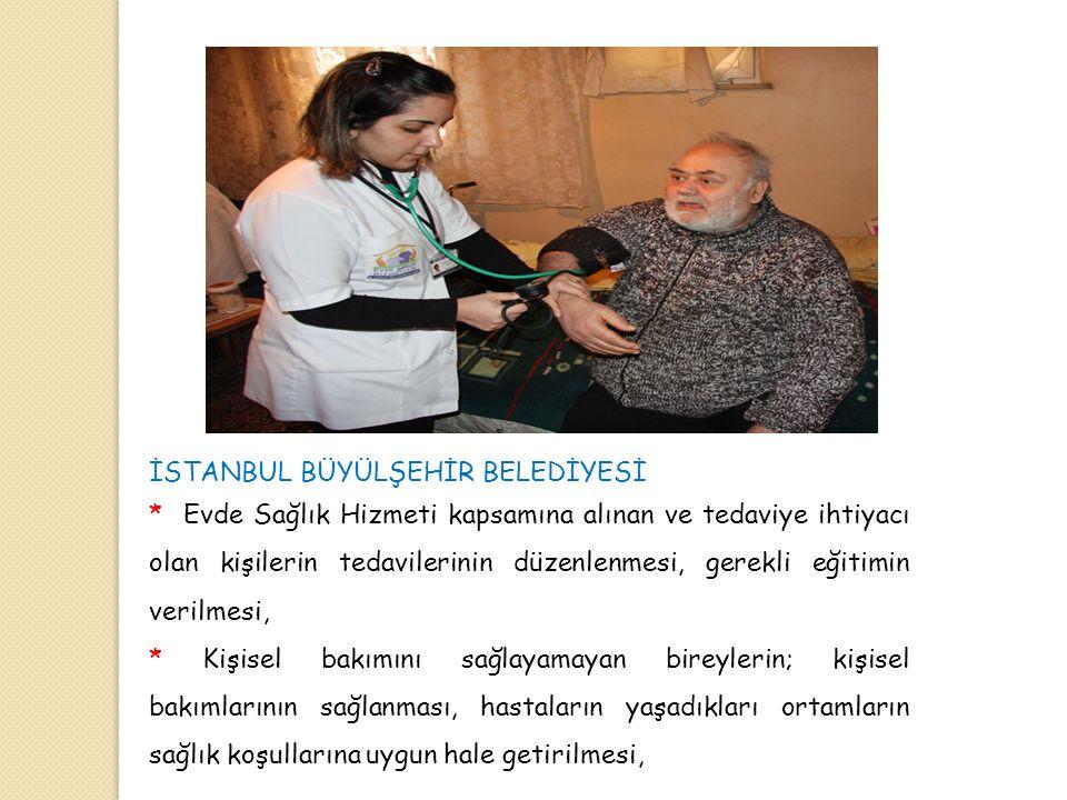 İSTANBUL BÜYÜLŞEHİR BELEDİYESİ * Evde Sağlık Hizmeti kapsamına alınan ve tedaviye ihtiyacı olan kişilerin tedavilerinin düzenlenmesi, gerekli eğitimin