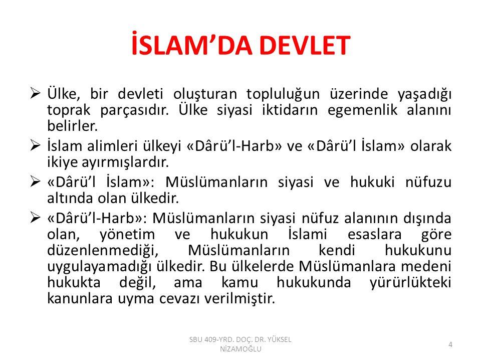 İSLAM'DA DEVLET  Dünyadaki siyasi egemenlik Allah tarafından insana verilmiştir.