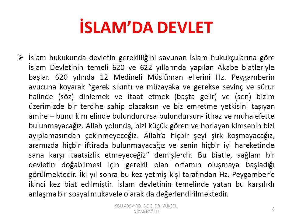 İSLAM'DA DEVLET  İslam hukukunda devletin gerekliliğini savunan İslam hukukçularına göre İslam Devletinin temeli 620 ve 622 yıllarında yapılan Akabe