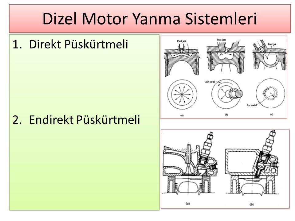 Dizel Motor Yanma Sistemleri 1.Direkt Püskürtmeli 2.Endirekt Püskürtmeli 1.Direkt Püskürtmeli 2.Endirekt Püskürtmeli