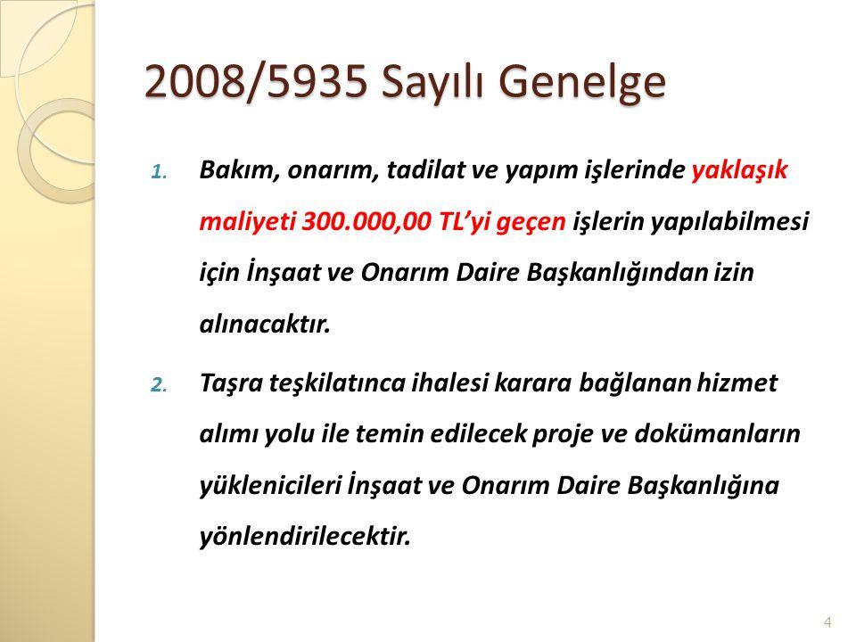 2008/5935 Sayılı Genelge 1. Bakım, onarım, tadilat ve yapım işlerinde yaklaşık maliyeti 300.000,00 TL'yi geçen işlerin yapılabilmesi için İnşaat ve On