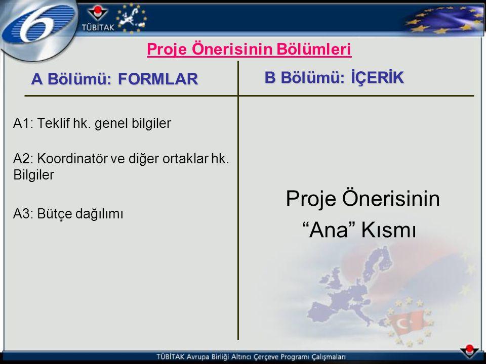 Proje Önerisinin Bölümleri A Bölümü: FORMLAR A Bölümü: FORMLAR A1: Teklif hk. genel bilgiler A2: Koordinatör ve diğer ortaklar hk. Bilgiler A3: Bütçe