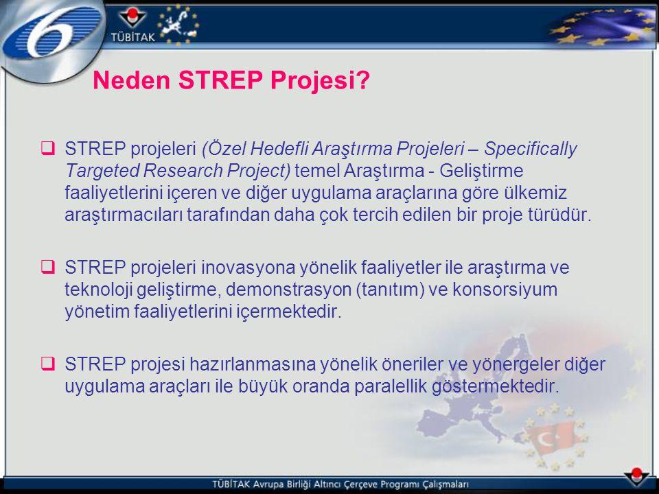 Neden STREP Projesi?  STREP projeleri (Özel Hedefli Araştırma Projeleri – Specifically Targeted Research Project) temel Araştırma - Geliştirme faaliy