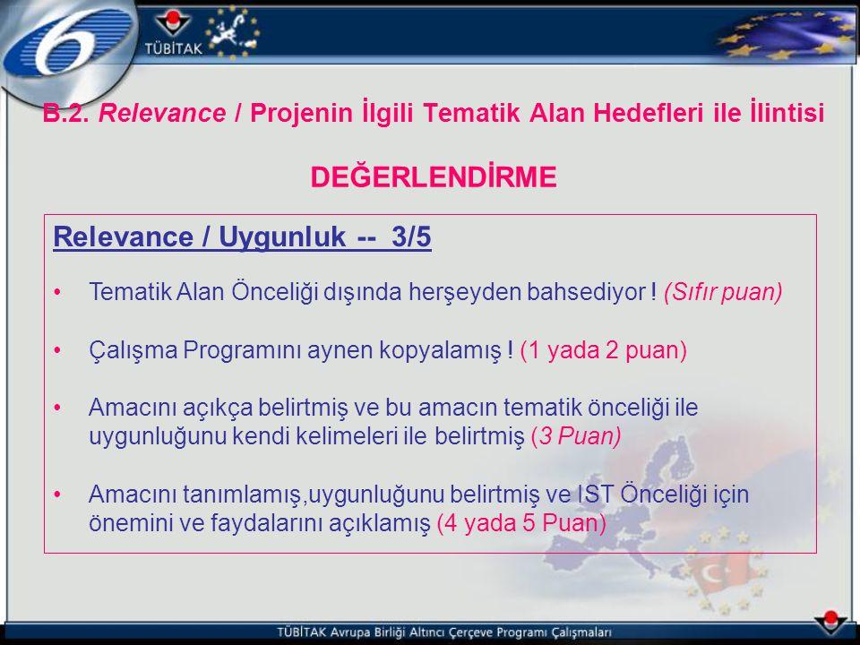 B.2. Relevance / Projenin İlgili Tematik Alan Hedefleri ile İlintisi DEĞERLENDİRME Relevance / Uygunluk -- 3/5 Tematik Alan Önceliği dışında herşeyden