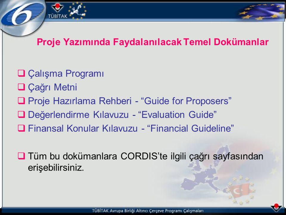 """ Çalışma Programı  Çağrı Metni  Proje Hazırlama Rehberi - """"Guide for Proposers""""  Değerlendirme Kılavuzu - """"Evaluation Guide""""  Finansal Konular Kı"""