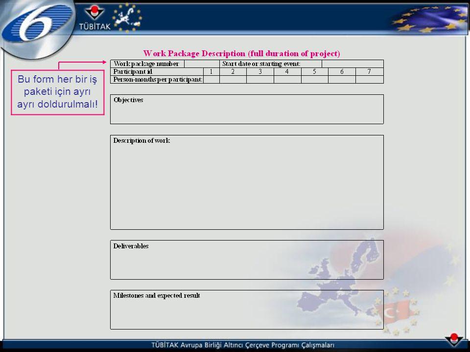 Bu form her bir iş paketi için ayrı ayrı doldurulmalı!