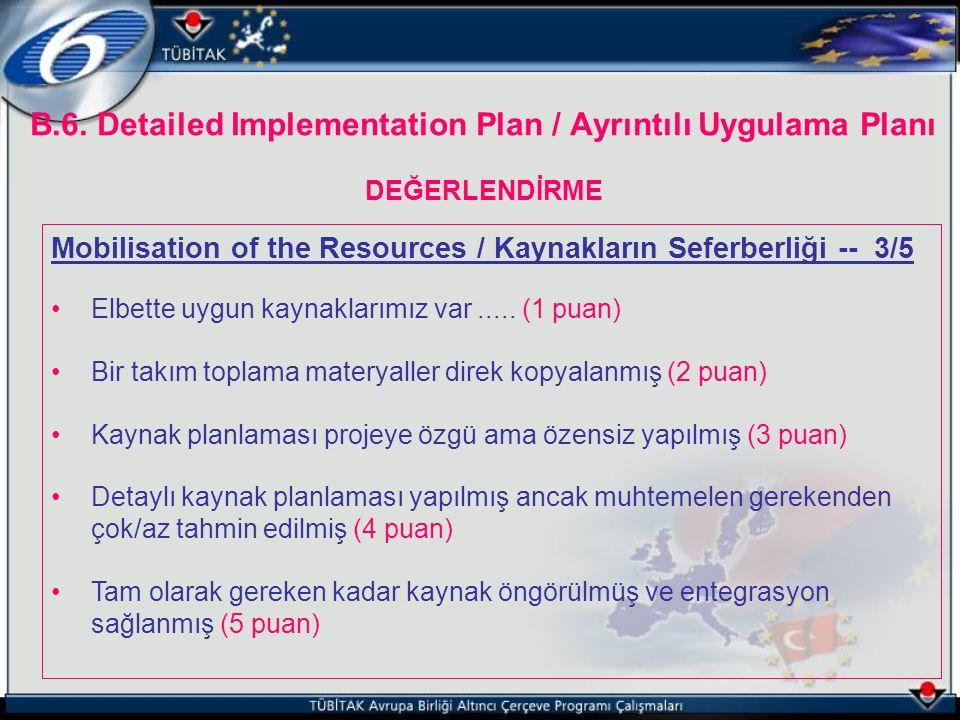 B.6. Detailed Implementation Plan / Ayrıntılı Uygulama Planı DEĞERLENDİRME Mobilisation of the Resources / Kaynakların Seferberliği -- 3/5 Elbette uyg