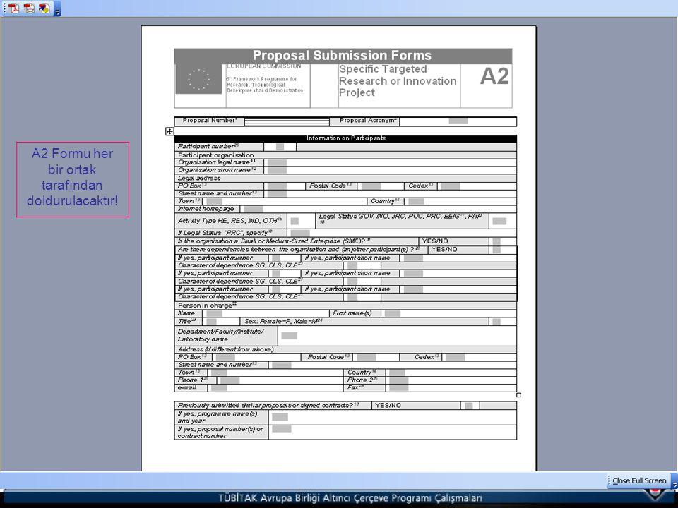 A2 Formu her bir ortak tarafından doldurulacaktır!