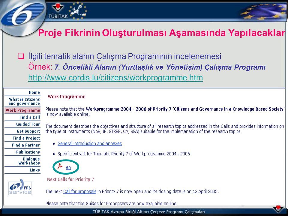  İlgili tematik alanın Çalışma Programının incelenemesi Örnek: 7. Öncelikli Alanın (Yurttaşlık ve Yönetişim) Çalışma Programı http://www.cordis.lu/ci