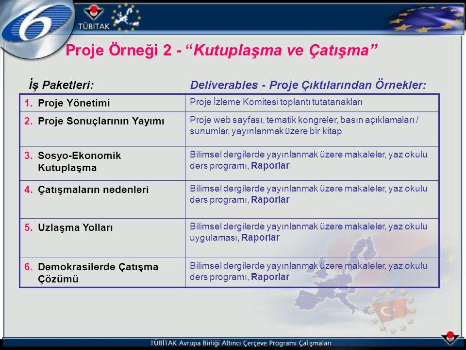 """Proje Örneği 2 - """"Kutuplaşma ve Çatışma"""" İş Paketleri:Deliverables - Proje Çıktılarından Örnekler: 1.Proje Yönetimi Proje İzleme Komitesi toplantı tut"""