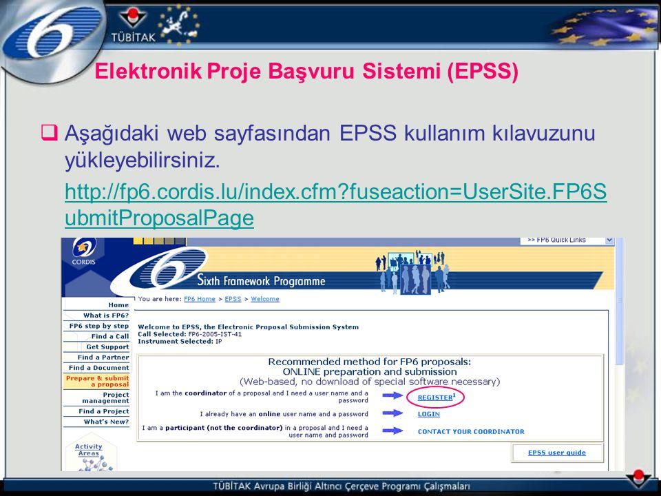 Elektronik Proje Başvuru Sistemi (EPSS)  Aşağıdaki web sayfasından EPSS kullanım kılavuzunu yükleyebilirsiniz. http://fp6.cordis.lu/index.cfm?fuseact