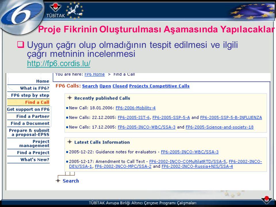  Uygun çağrı olup olmadığının tespit edilmesi ve ilgili çağrı metninin incelenmesi http://fp6.cordis.lu/ Proje Fikrinin Oluşturulması Aşamasında Yapı