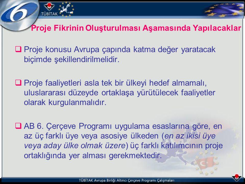 Proje Fikrinin Oluşturulması Aşamasında Yapılacaklar  Proje konusu Avrupa çapında katma değer yaratacak biçimde şekillendirilmelidir.  Proje faaliye