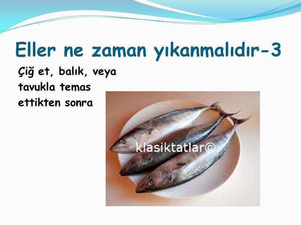 Eller ne zaman yıkanmalıdır-3 Çiğ et, balık, veya tavukla temas ettikten sonra