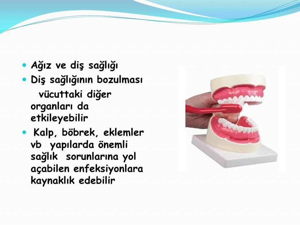 Ağız ve diş sağlığı Diş sağlığının bozulması vücuttaki diğer organları da etkileyebilir Kalp, böbrek, eklemler vb yapılarda önemli sağlık sorunlarına