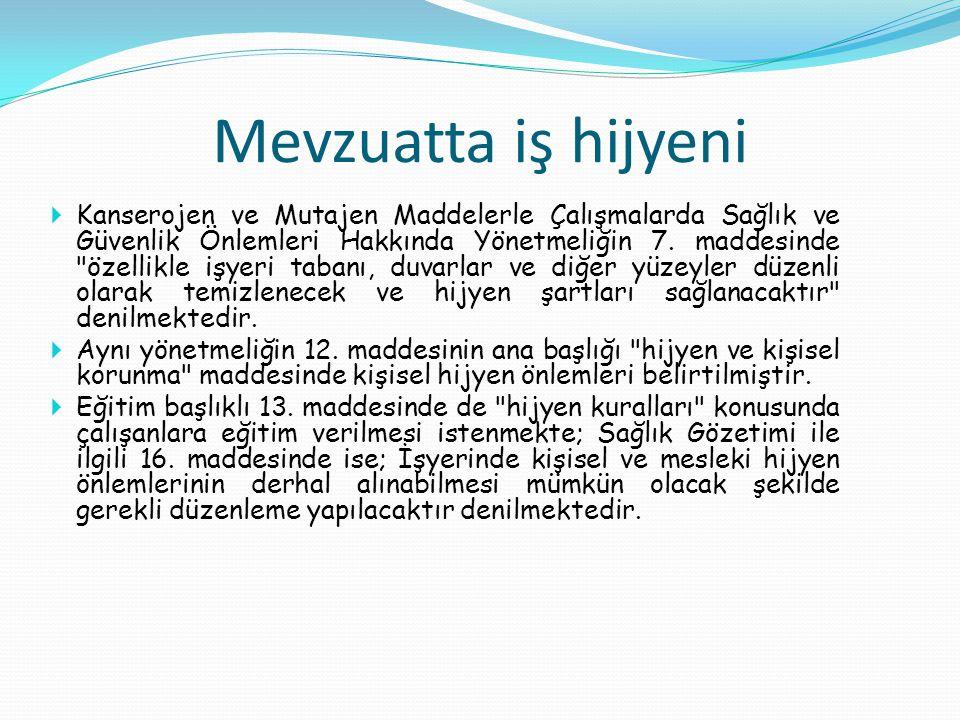 Kanserojen ve Mutajen Maddelerle Çalışmalarda Sağlık ve Güvenlik Önlemleri Hakkında Yönetmeliğin 7. maddesinde