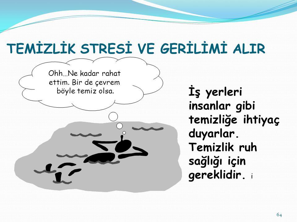 64 TEMİZLİK STRESİ VE GERİLİMİ ALIR İş yerleri insanlar gibi temizliğe ihtiyaç duyarlar. Temizlik ruh sağlığı için gereklidir. i Ohh…Ne kadar rahat et
