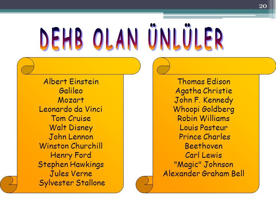 20 Albert Einstein Galileo Mozart Leonardo da Vinci Tom Cruise Walt Disney John Lennon Winston Churchill Henry Ford Stephen Hawkings Jules Verne Sylve