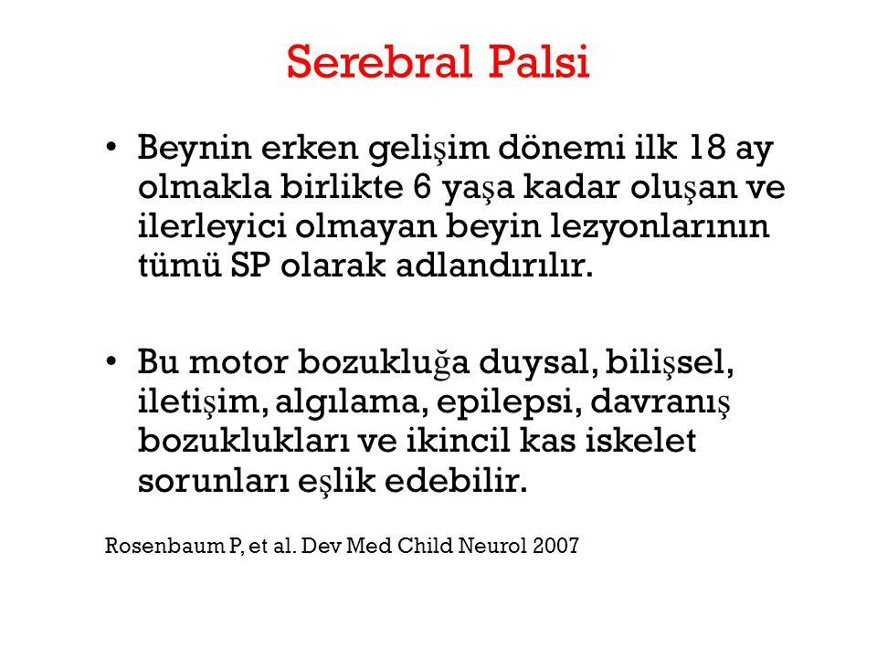 Serebral Palsi Beynin erken geli ş im dönemi ilk 18 ay olmakla birlikte 6 ya ş a kadar olu ş an ve ilerleyici olmayan beyin lezyonlarının tümü SP olar