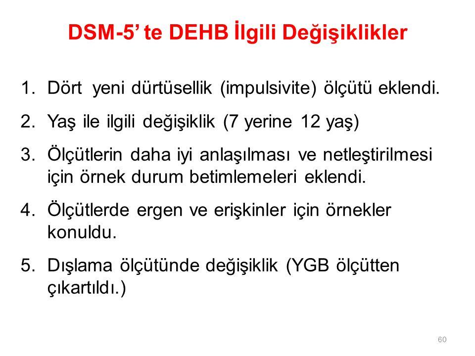 DSM-5' te DEHB İlgili Değişiklikler 1.Dört yeni dürtüsellik (impulsivite) ölçütü eklendi. 2.Yaş ile ilgili değişiklik (7 yerine 12 yaş) 3.Ölçütlerin d