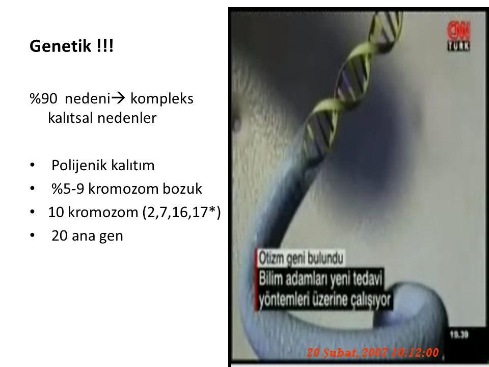 84 Genetik !!! %90 nedeni  kompleks kalıtsal nedenler Polijenik kalıtım %5-9 kromozom bozuk 10 kromozom (2,7,16,17*) 20 ana gen 20 Şubat, 2007 10:12: