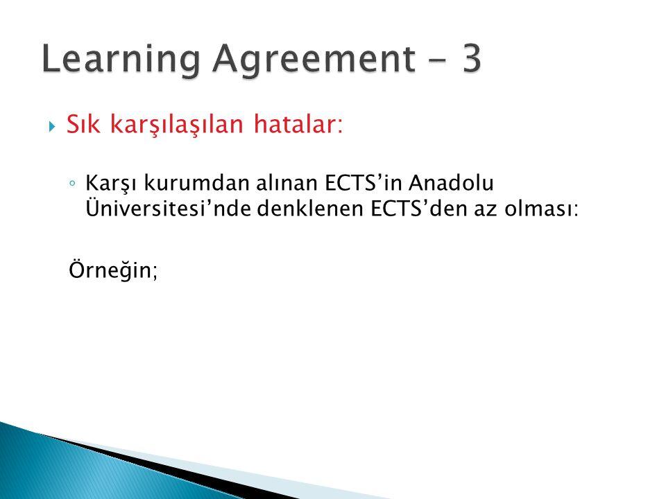  Sık karşılaşılan hatalar: ◦ Karşı kurumdan alınan ECTS'in Anadolu Üniversitesi'nde denklenen ECTS'den az olması: Örneğin;