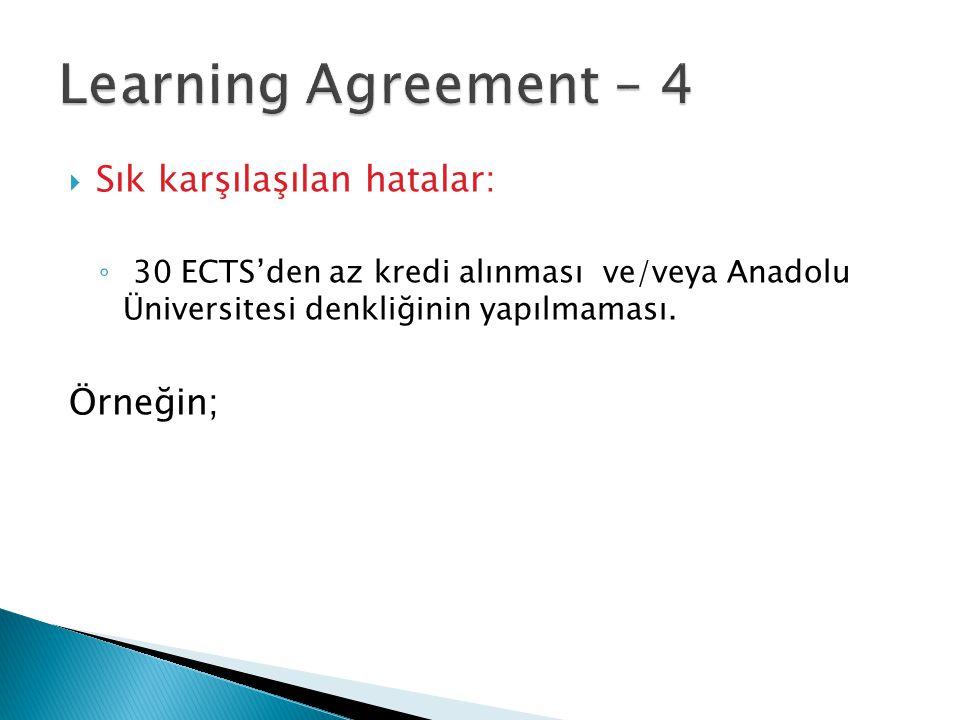  Sık karşılaşılan hatalar: ◦ 30 ECTS'den az kredi alınması ve/veya Anadolu Üniversitesi denkliğinin yapılmaması. Örneğin;