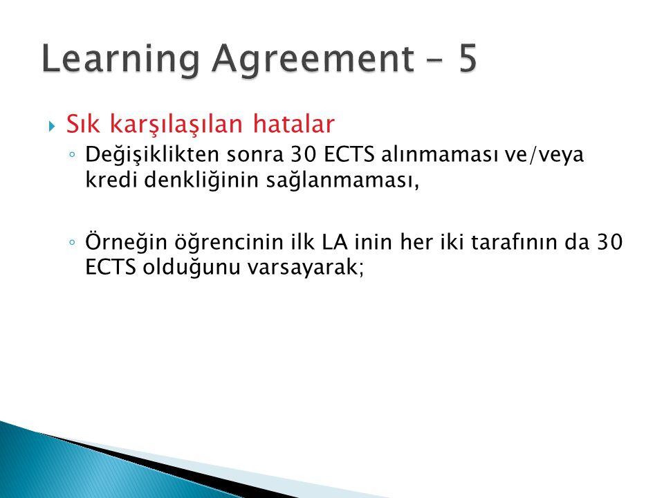  Sık karşılaşılan hatalar ◦ Değişiklikten sonra 30 ECTS alınmaması ve/veya kredi denkliğinin sağlanmaması, ◦ Örneğin öğrencinin ilk LA inin her iki t