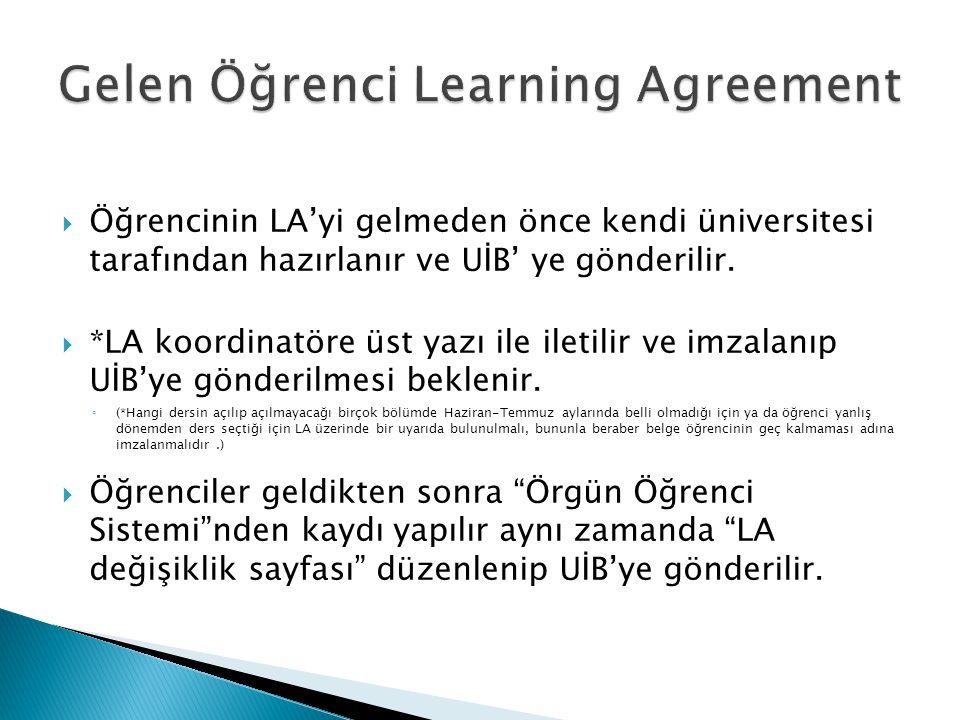  Öğrencinin LA'yi gelmeden önce kendi üniversitesi tarafından hazırlanır ve UİB' ye gönderilir.  *LA koordinatöre üst yazı ile iletilir ve imzalanıp