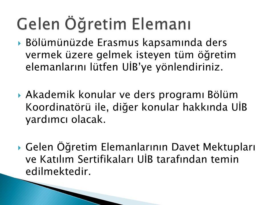  Bölümünüzde Erasmus kapsamında ders vermek üzere gelmek isteyen tüm öğretim elemanlarını lütfen UİB'ye yönlendiriniz.  Akademik konular ve ders pro