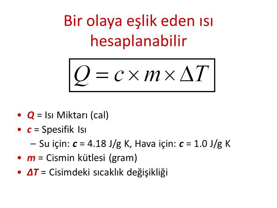 Bir olaya eşlik eden ısı hesaplanabilir Q = Isı Miktarı (cal) c = Spesifik Isı –Su için: c = 4.18 J/g K, Hava için: c = 1.0 J/g K m = Cismin kütlesi (